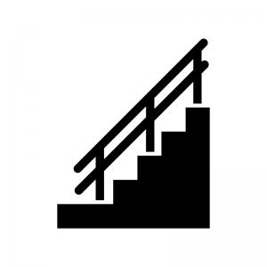 手すり付き階段の白黒シルエットイラスト