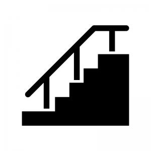 手すり付き階段の白黒シルエットイラスト02