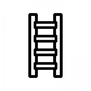 はしごの白黒シルエットイラスト