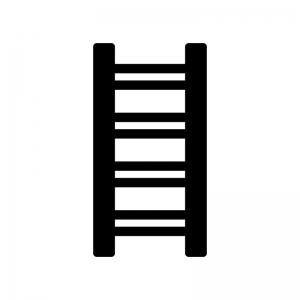 はしごの白黒シルエットイラスト02
