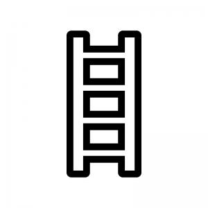 はしごの白黒シルエットイラスト03