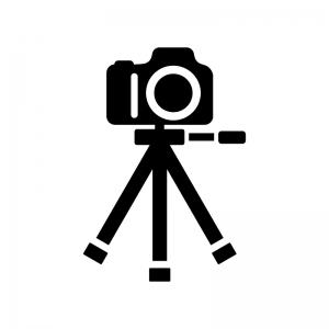 三脚と一眼レフカメラの白黒シルエットイラスト