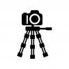 三脚と一眼レフカメラの白黒シルエットイラスト02
