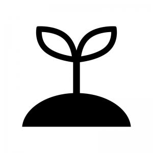 植物の芽の白黒シルエットイラスト05