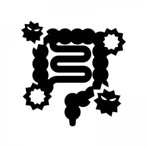 腸内環境が悪い腸の白黒シルエットイラスト03