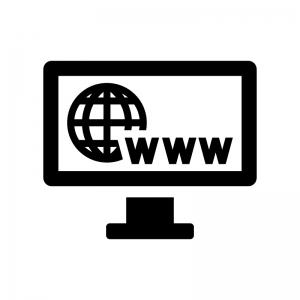 WWWとモニタのシルエットイラスト