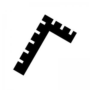 差し金の白黒シルエットイラスト03