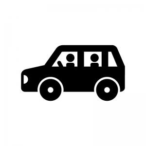車でドライブの白黒シルエットイラスト
