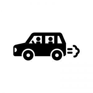 車でドライブの白黒シルエットイラスト02