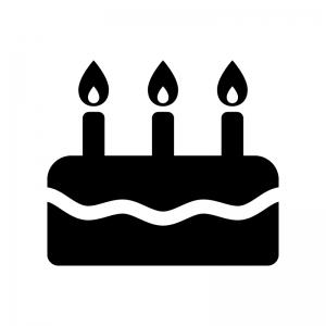 誕生日ケーキの白黒シルエットイラスト