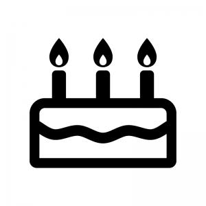 誕生日ケーキの白黒シルエットイラスト02