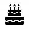 誕生日ケーキの白黒シルエットイラスト03