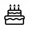 誕生日ケーキの白黒シルエットイラスト04