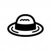 麦わら帽子の白黒シルエットイラスト