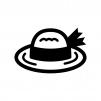 麦わら帽子の白黒シルエットイラスト02