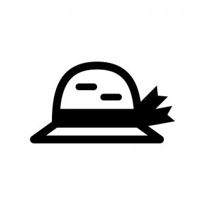 麦わら帽子の白黒シルエットイラスト03