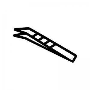 ピンセットの白黒シルエットイラスト02