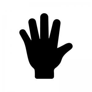 手のひらの白黒シルエットイラスト02