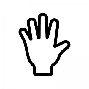手のひらの白黒シルエットイラスト03