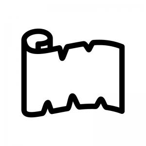 巻紙の白黒シルエットイラスト02