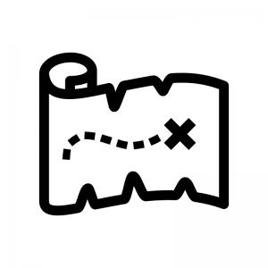 宝の地図の白黒シルエットイラスト