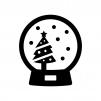 クリスマスツリーのスノードームの白黒シルエットイラスト