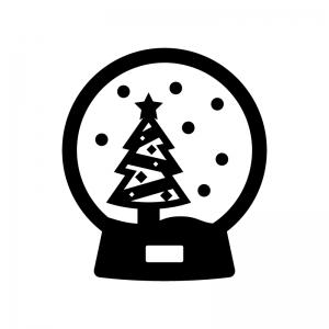 クリスマスツリーのスノードームの白黒シルエットイラスト02