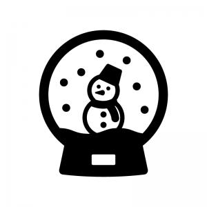 雪だるまのスノードームの白黒シルエットイラスト