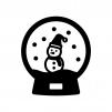 雪だるまのスノードームの白黒シルエットイラスト02