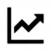 上昇グラフの白黒シルエットイラスト04