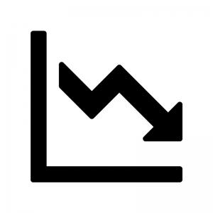 下降グラフの白黒シルエットイラスト02