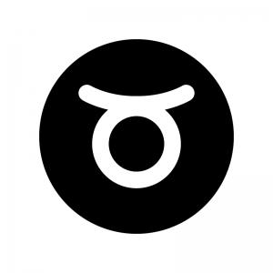 牡牛座(おうし座)の白黒シルエットイラスト02