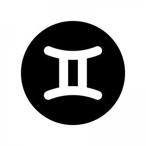 双子座(ふたご座)の白黒シルエットイラスト02