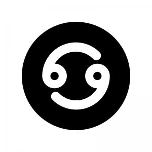 蟹座(かに座)の白黒シルエットイラスト02