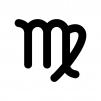 乙女座(おとめ座)の白黒シルエットイラスト