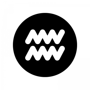 水瓶座(みずがめ座)の白黒シルエットイラスト02