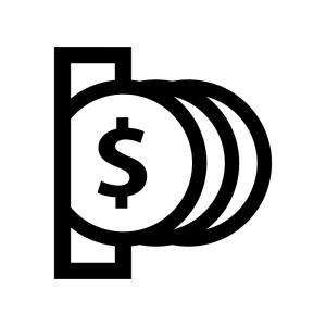 コイン投入の白黒シルエットイラスト02