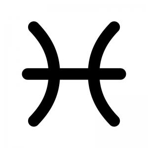 魚座(うお座)の白黒シルエットイラスト