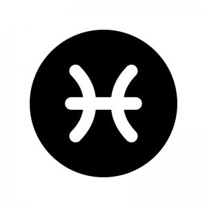 魚座(うお座)の白黒シルエットイラスト02