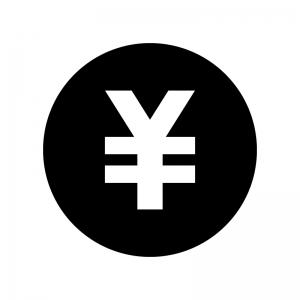 円マークの白黒シルエットイラスト02