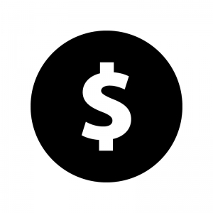 ドルマークの白黒シルエットイラスト02