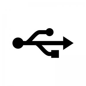 USBマークの白黒シルエットイラスト