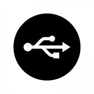 USBマークの白黒シルエットイラスト02