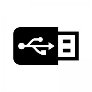USBメモリの白黒シルエットイラスト03