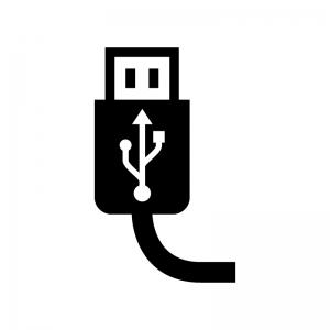 USBケーブルの白黒シルエットイラスト03