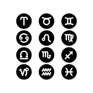 12星座のマークの白黒シルエットイラスト02