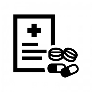 処方箋の白黒シルエットイラスト