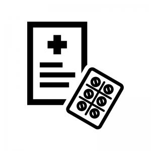 処方箋の白黒シルエットイラスト02