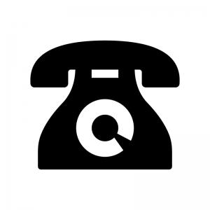 黒電話の白黒シルエットイラスト03