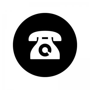 白抜きの黒電話の白黒シルエットイラスト02